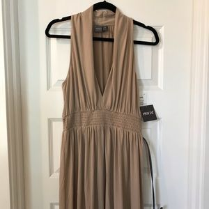 NWT Tan Halter Dress w/ Black Belt